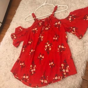 Tops - Red floral shirt